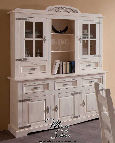 vitrine 3 t rig buffet schrank massiv mexican wei ebay. Black Bedroom Furniture Sets. Home Design Ideas